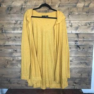 NWOT - Mustard Yellow Hooded Linen Cardigan